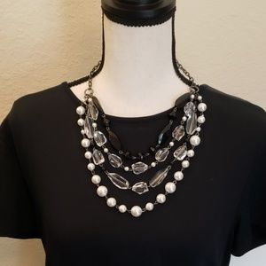 Macy's layered necklace with clear/black beads